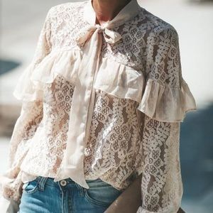 Tough Love Lace Button Down Blouse
